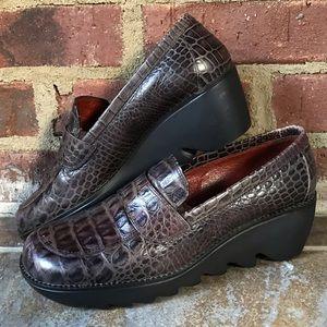 Donald J. Pliner Brown Crocodile Slip On Loafer 6